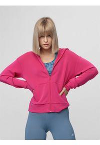 4f - Bluza treningowa damska z modalu. Typ kołnierza: kaptur. Kolor: różowy. Materiał: włókno, dzianina. Sport: fitness