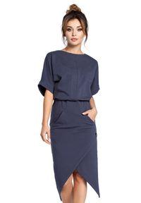 BE - Efektowna sukienka o awangardowym kroju. Materiał: dresówka, bawełna, dzianina, materiał, elastan