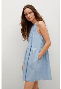 mango - Mango - Sukienka CANDELA. Typ kołnierza: dekolt halter. Kolor: niebieski. Materiał: tkanina, bawełna. Typ sukienki: rozkloszowane