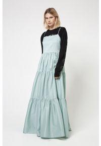 Hugo - Sukienka. Kolor: zielony. Materiał: tkanina. Długość rękawa: na ramiączkach. Wzór: gładki. Typ sukienki: rozkloszowane