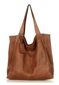 Marco Mazzini handmade - MARCO MAZZINI Torebka Miejski Shopper Bag skóra naturalna handmade brąz. Kolor: brązowy. Materiał: skórzane