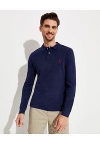 Ralph Lauren - RALPH LAUREN - Granatowa koszulka polo Longsleeve. Typ kołnierza: polo. Kolor: niebieski. Materiał: bawełna, prążkowany. Długość rękawa: długi rękaw. Długość: długie. Wzór: haft