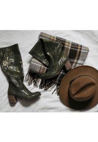 Zielony kozaki Zapato wąskie, z cholewką, na lato