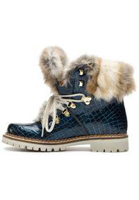 Niebieskie buty trekkingowe New Italia Shoes z cholewką