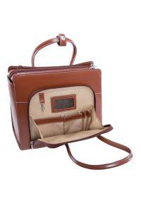 Brązowa torba na laptopa MCKLEIN biznesowa, w kolorowe wzory