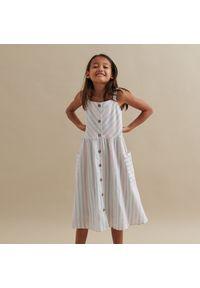 Reserved - Sukienka midi w paski - Wielobarwny. Wzór: paski. Długość: midi