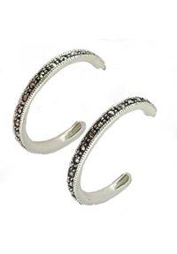 Braccatta - PALOMA; Kolczyki srebrne koła średnie. Materiał: srebrne. Kolor: srebrny. Wzór: aplikacja. Kamień szlachetny: markazyt