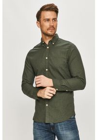 Zielona koszula Selected z długim rękawem, długa, z klasycznym kołnierzykiem