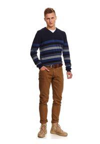 Niebieski sweter TOP SECRET długi, z długim rękawem