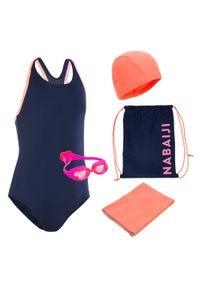NABAIJI - Zestaw Pływacki 100 Start Dla Dzieci: Strój Okularki Czepek Ręcznik Torba. Materiał: poliester, poliamid, materiał, elastan