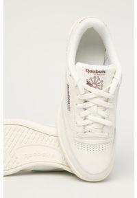 Kremowe sneakersy Reebok Classic Reebok Club, na sznurówki, z okrągłym noskiem, z cholewką
