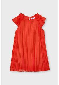 Czerwona sukienka Mayoral plisowana, gładkie