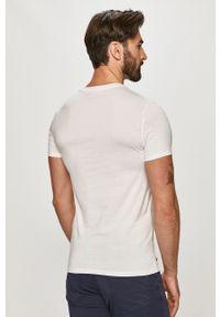 Biały t-shirt Lacoste gładki, casualowy