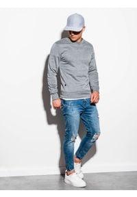 Ombre Clothing - Bluza męska bez kaptura B978 - szary melanż - XXL. Okazja: na co dzień. Typ kołnierza: bez kaptura. Kolor: szary. Materiał: poliester, materiał, bawełna. Wzór: melanż. Styl: klasyczny, casual