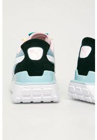 Turkusowe buty sportowe Puma na średnim obcasie, na obcasie, z cholewką