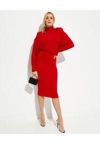ALEXANDRE VAUTHIER - Czerwona sukienka z golfem. Typ kołnierza: golf. Kolor: czerwony. Styl: klasyczny. Długość: midi
