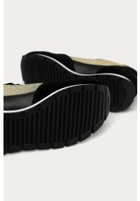 Czarne buty sportowe Emporio Armani z cholewką, na średnim obcasie, na sznurówki