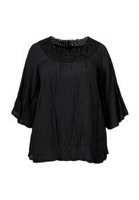 Czarna tunika Zhenzi elegancka, na co dzień, raglanowy rękaw