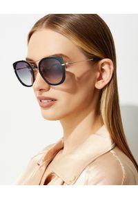 Tom Ford - TOM FORD - Czarne okulary przeciwsłoneczne Joey. Kształt: okrągłe. Kolor: czarny. Materiał: materiał