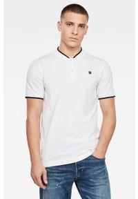 Biała koszulka polo G-Star RAW na co dzień, z aplikacjami, casualowa, polo