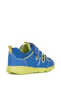 Niebieskie buty sportowe Geox z cholewką, do biegania, z okrągłym noskiem