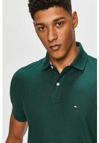 Zielona koszulka polo TOMMY HILFIGER polo, krótka