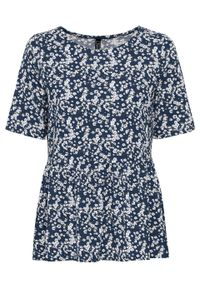 Shirt z falbaną TENCEL™ Lyocell bonprix ciemnoniebieski w kwiaty. Kolor: niebieski. Materiał: lyocell. Wzór: kwiaty