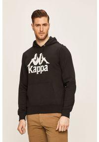 Czarna bluza nierozpinana Kappa z nadrukiem, z kapturem