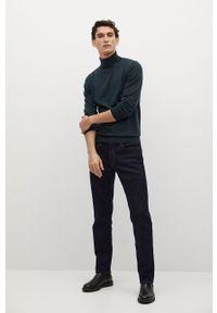 Zielony sweter Mango Man długi, z długim rękawem, casualowy, na co dzień