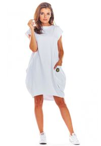 Infinite You - Swobodna bawełniana sukienka bombka z kieszeniami. Materiał: bawełna. Długość rękawa: krótki rękaw. Wzór: aplikacja. Typ sukienki: bombki