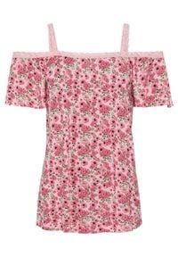 Shirt cold-shoulder bonprix fuksja w kwiaty. Kolor: różowy. Wzór: kwiaty