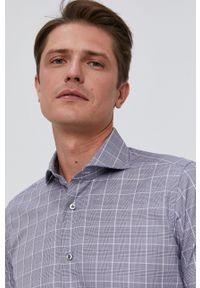 Emanuel Berg - Koszula bawełniana. Typ kołnierza: kołnierzyk włoski. Kolor: szary. Materiał: bawełna. Długość rękawa: długi rękaw. Długość: długie