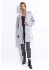 Fobya - Długi Niezapinany Sweter Damski - Szary. Kolor: szary. Materiał: poliester, akryl, wełna, poliamid. Długość: długie
