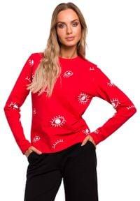 MOE - Czerwona Wzorzysta Bazowa Bluzka z Długim Rękawem. Kolor: czerwony. Materiał: elastan, bawełna. Długość rękawa: długi rękaw. Długość: długie