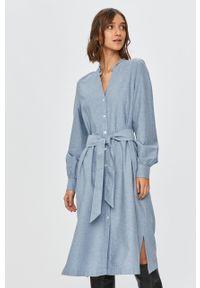 Niebieska sukienka TOMMY HILFIGER mini, na co dzień, z długim rękawem