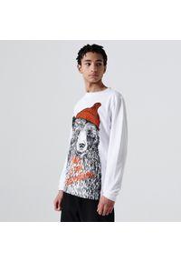 Biały t-shirt Cropp z nadrukiem, z długim rękawem