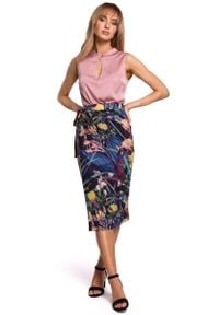 MOE - Midi Spódnica na Zakładkę w Duże Kwiaty - Model 1. Materiał: poliester, elastan. Wzór: kwiaty