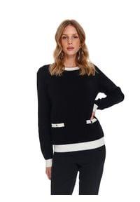 TOP SECRET - Elegancki sweter damski. Kolor: czarny. Materiał: materiał. Długość rękawa: długi rękaw. Długość: długie. Sezon: wiosna. Styl: elegancki