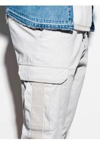 Ombre Clothing - Spodnie męskie joggery P893 - szare - XXL. Kolor: szary. Materiał: bawełna, elastan. Wzór: aplikacja