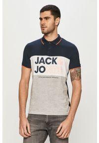 Niebieska koszulka polo Jack & Jones polo, casualowa, krótka, na co dzień