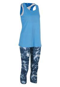 Legginsy funkcyjne + top + biustonosz bustier (3 części) bonprix ciemnoniebieski w roślinny wzór. Kolor: niebieski