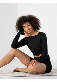 4f - Longsleeve do jogi z materiałów z recyklingu damski. Kolor: czarny. Materiał: materiał. Długość rękawa: długi rękaw. Sport: joga i pilates