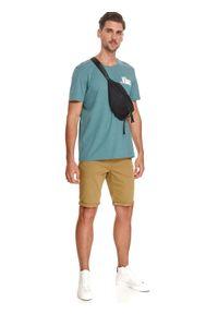 TOP SECRET - T-shirt z nadrukiem. Kolor: turkusowy. Materiał: bawełna, tkanina. Długość rękawa: krótki rękaw. Długość: krótkie. Wzór: nadruk. Sezon: lato. Styl: wakacyjny
