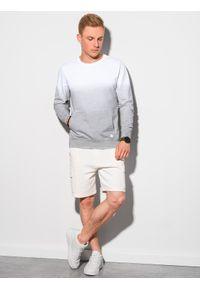 Ombre Clothing - Bluza męska bez kaptura B1150 - popielata - XXL. Typ kołnierza: bez kaptura. Kolor: szary. Materiał: bawełna. Wzór: gradientowy. Sezon: lato