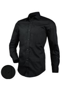 Czarna elegancka koszula Desire z klasycznym kołnierzykiem, długa, z długim rękawem, na co dzień