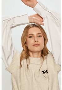 Beżowy sweter Pinko klasyczny, gładki