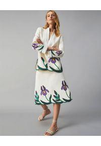 Tory Burch - TORY BURCH - Haftowana spódnica Iris. Stan: podwyższony. Kolor: biały. Materiał: bawełna. Wzór: haft