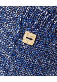 Manila Grace - MANILA GRACE - Niebieski kardigan z frędzlami. Okazja: na co dzień. Kolor: niebieski. Materiał: wiskoza. Długość rękawa: długi rękaw. Długość: długie. Wzór: melanż. Styl: casual