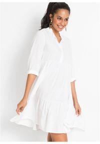 Sukienka tunikowa bonprix biel wełny. Kolor: biały. Materiał: wełna