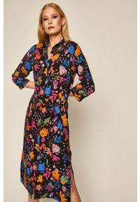 Czarna sukienka medicine w kwiaty, midi, prosta, boho